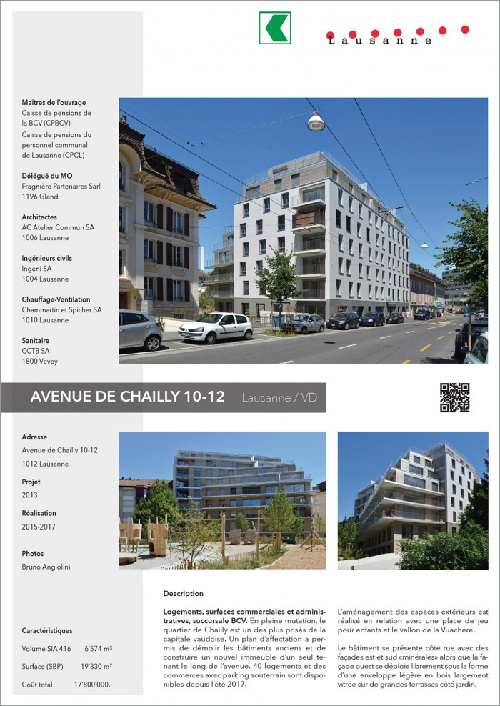 immeuble locatif Chailly Lausanne Agence BCV Atelier Commun Architecte