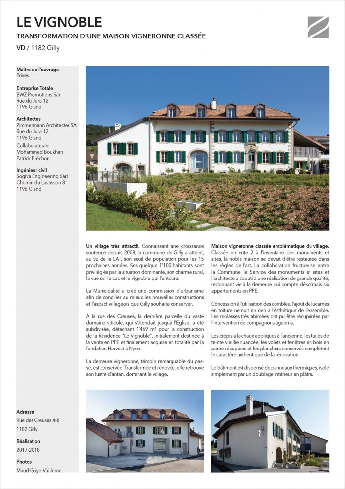 Zimmermann Architectes Le vignoble Gilly